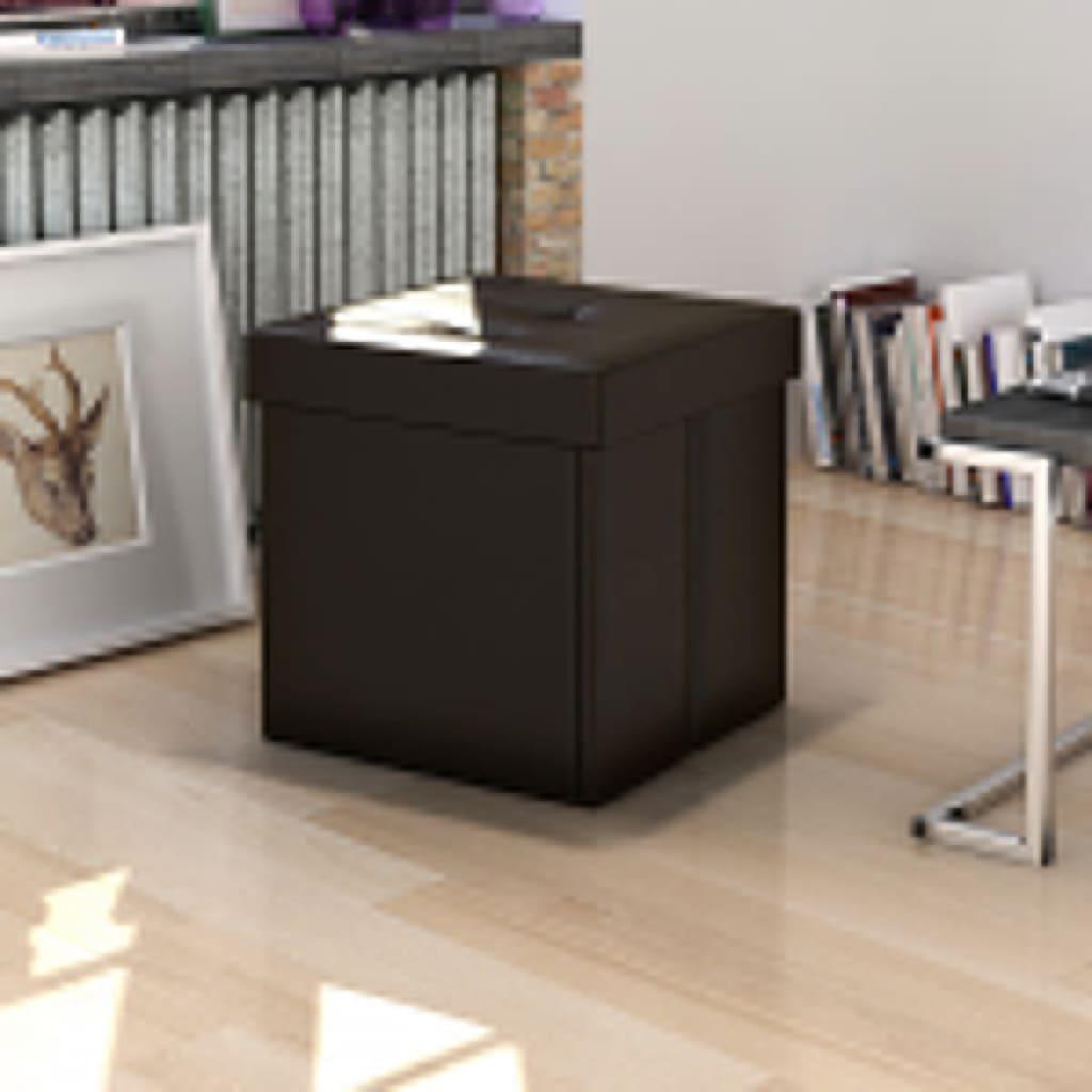 Brown faux leather folding storage seat bench stool for Storage ottoman seat