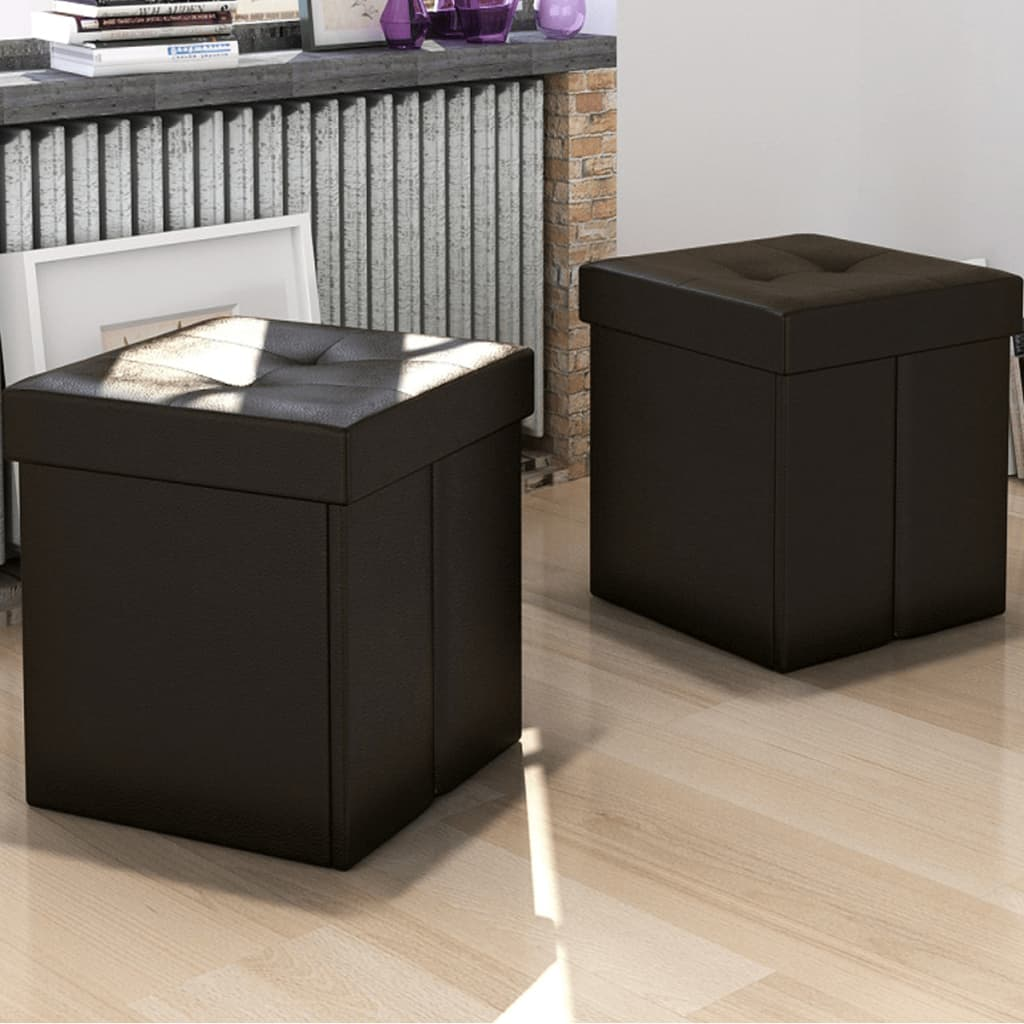 brown rectangular faux leather fold storage seat bench stool ottoman. Black Bedroom Furniture Sets. Home Design Ideas