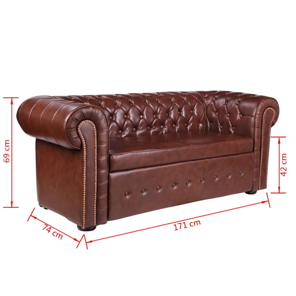Acheter canap chesterfield 2 places en cuir m lang for Canape chesterfield cuir pas cher