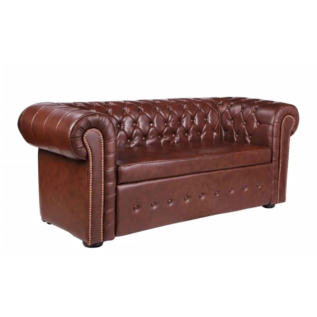 La boutique en ligne canap chesterfield 2 places en cuir m lang marron vi - Canape chesterfield cuir 2 places ...
