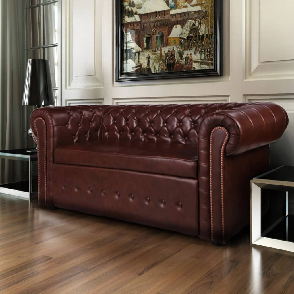 La boutique en ligne canap chesterfield 2 places en cuir m lang marron vi - Chesterfield 2 places cuir ...