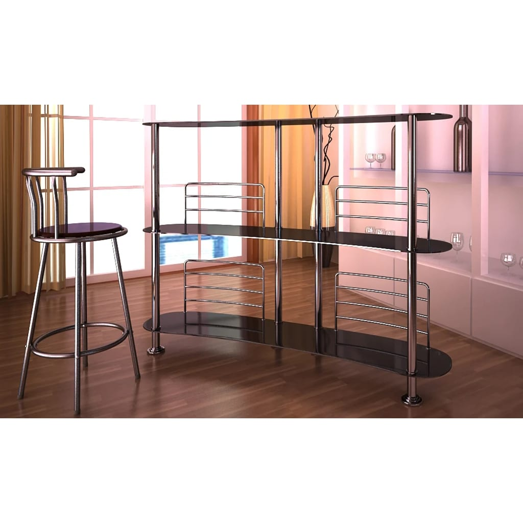 la boutique en ligne meuble de bar verre tremp noir 138 x 39 x 110 cm. Black Bedroom Furniture Sets. Home Design Ideas