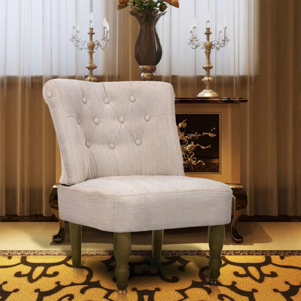 vidaXL 1 db francia szék / fotel krém