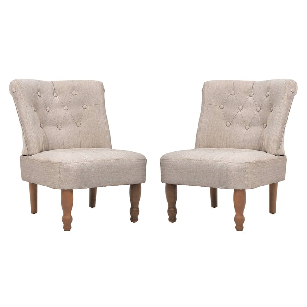 vidaXL Fotele francuskie, 2 szt, kremowe, materiałowe