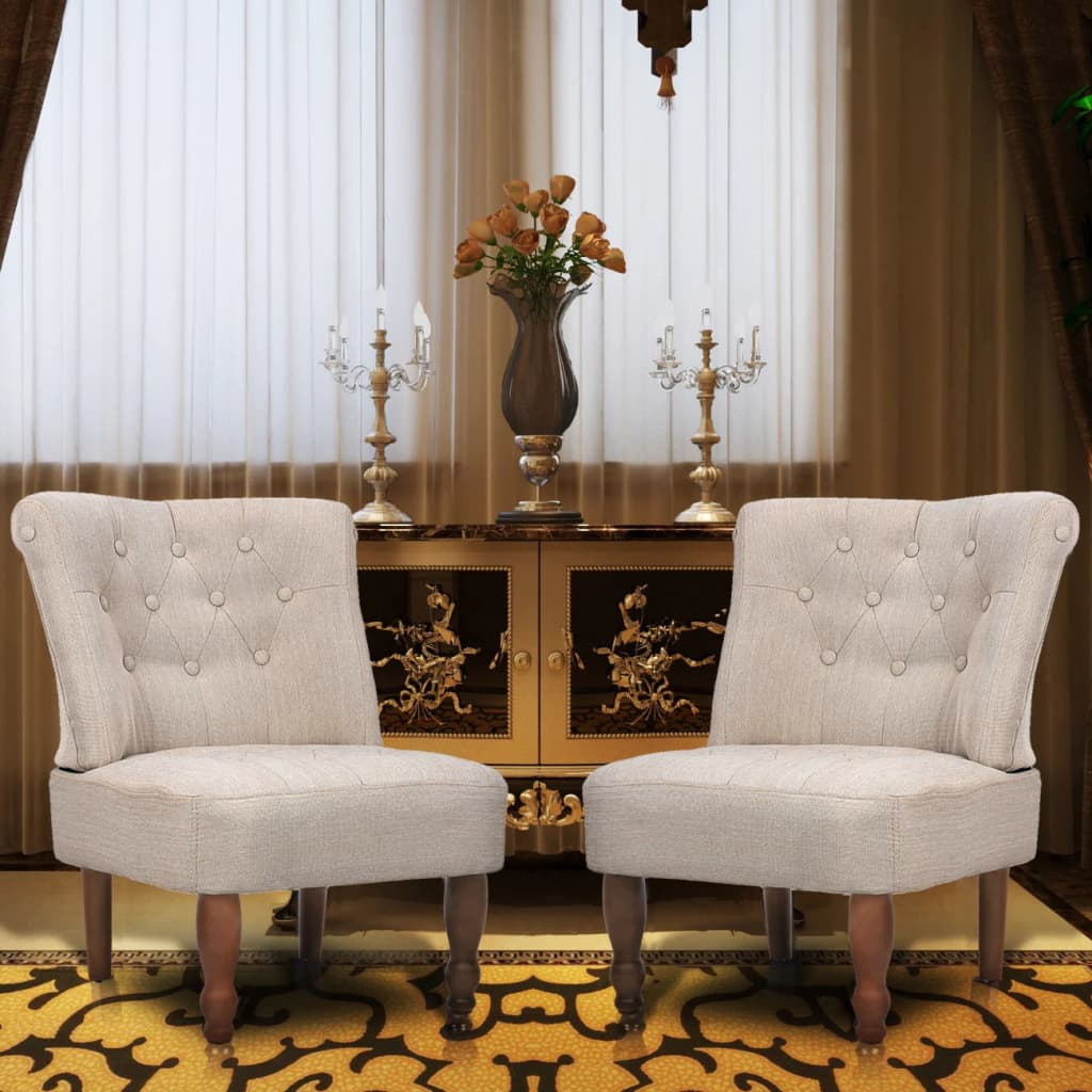 vidaXL 2 db krémszínű francia szövet fotel