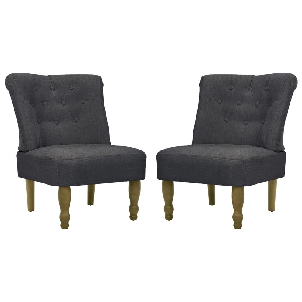 vidaXL Fotele francuskie, 2 szt, materiałowe, szare