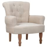 1 pc French Chair With Armrest Sand White