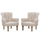 2 pcs French Chair With Armrest Sand White