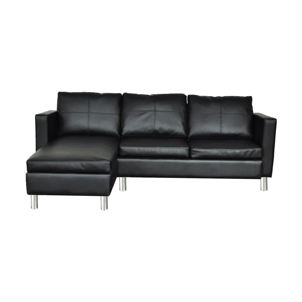 Luxury Sectional Sofa 3 Seats Black