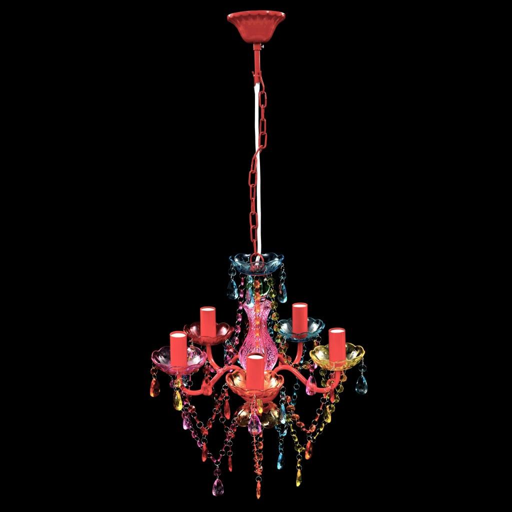 L mpara ara a de techo con cristales de varios colores 5 bombillas tienda online - Lampara arana colores ...