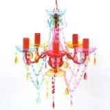 Lámpara araña de techo con cristales de varios colores, 5 bombillas