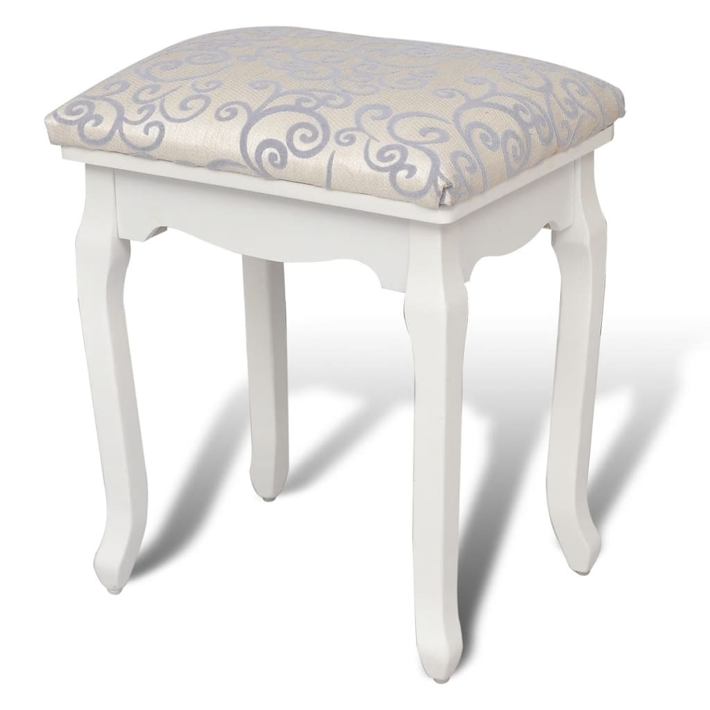 la boutique en ligne tabouret pouf pour coiffeuse en bois blanc. Black Bedroom Furniture Sets. Home Design Ideas