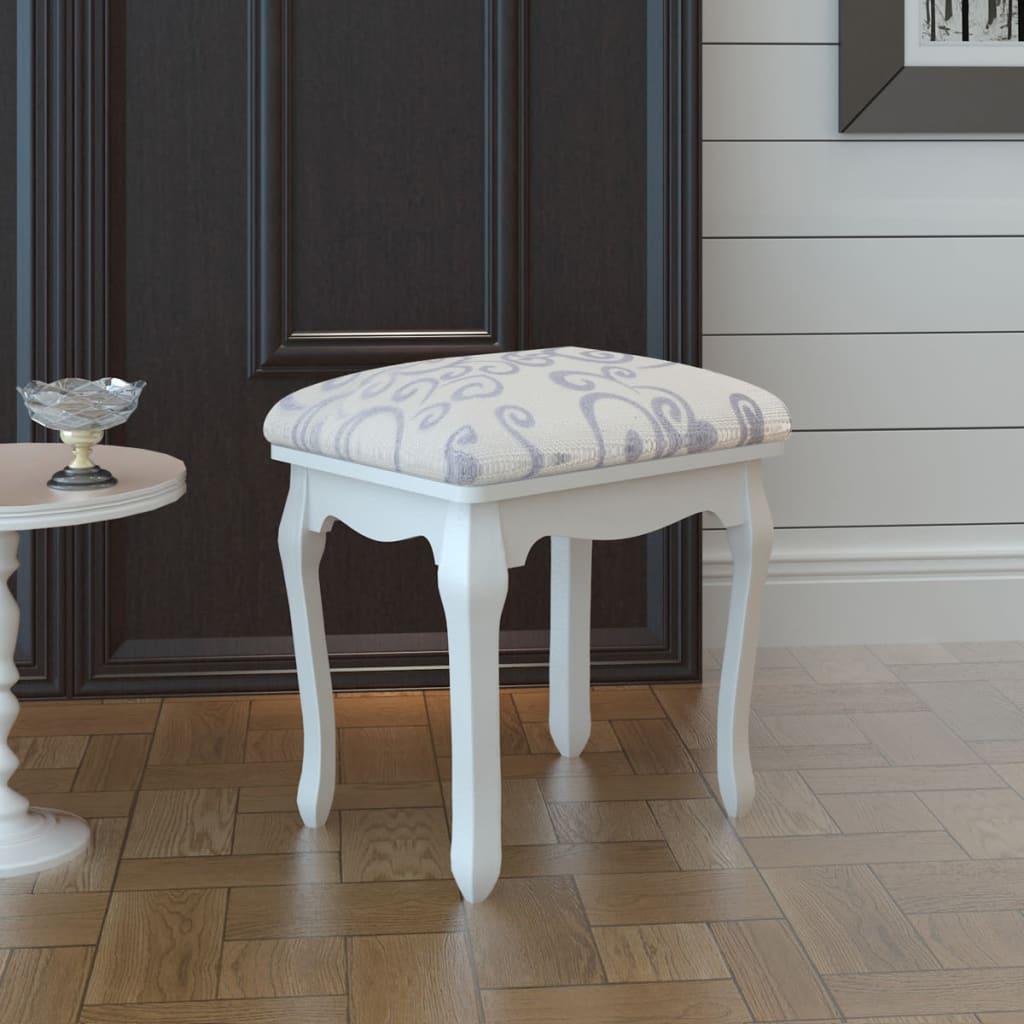 acheter tabouret pouf pour coiffeuse en bois blanc pas cher. Black Bedroom Furniture Sets. Home Design Ideas
