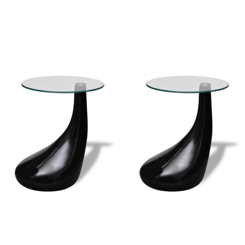 vidaXL-Tavolini-salotto-set-da-2-in-vetro-design-nero-a-goccia