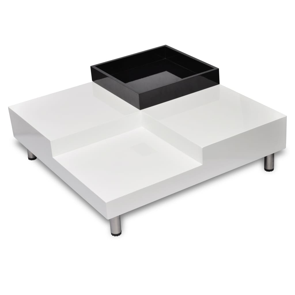 Coffee Table Square White Black Tray