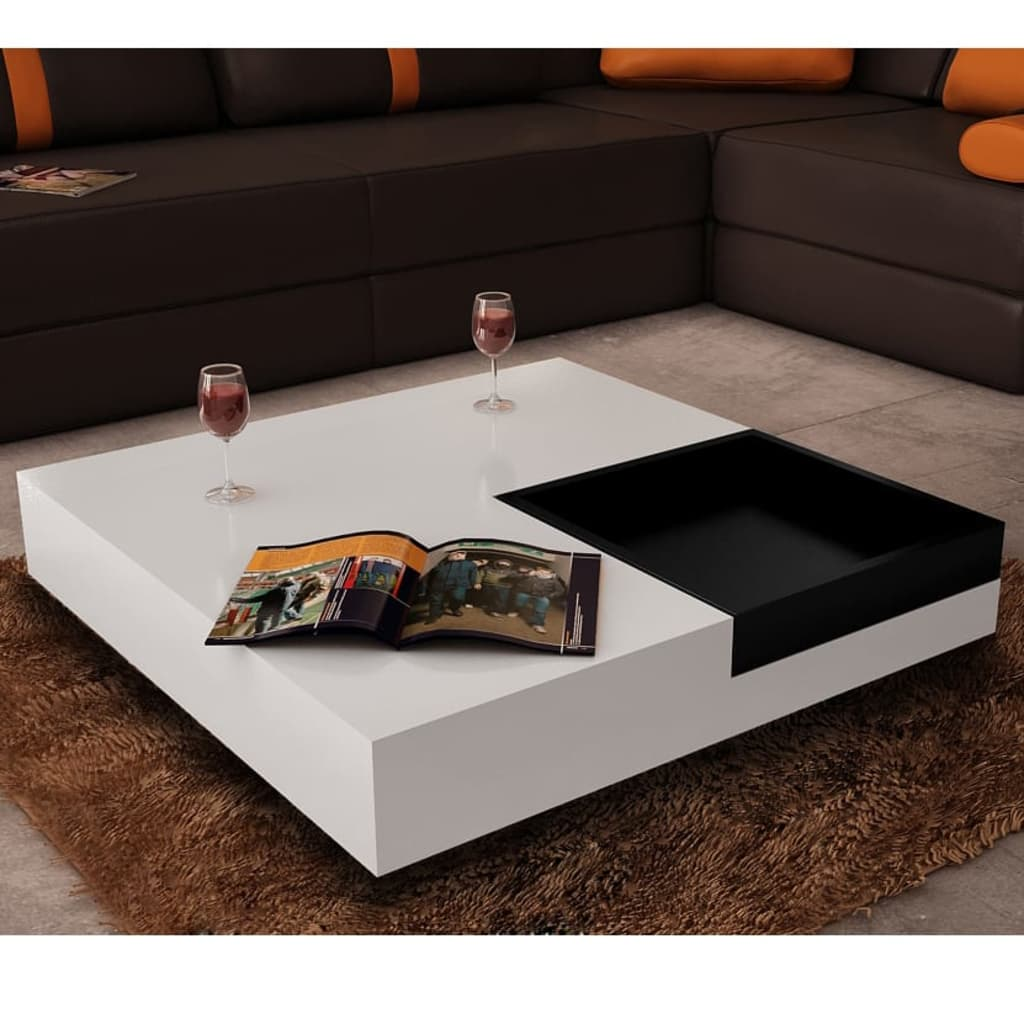 Coffee table square white black tray - Table basse blanche cdiscount ...
