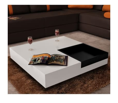 Coffee Table Square White Black Tray Www Vidaxl Com Au