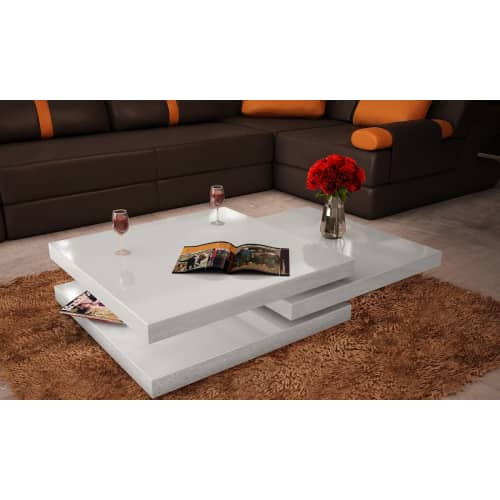 Coffee Table 3 Layers White High Gloss: Modern White Coffee Table Side Storage Shelf Office