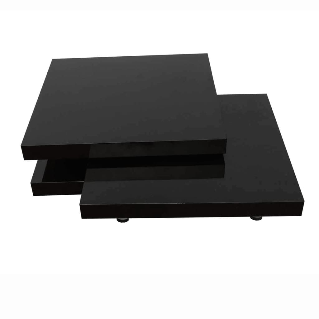 coffee table 3 layers black square metal legs. Black Bedroom Furniture Sets. Home Design Ideas