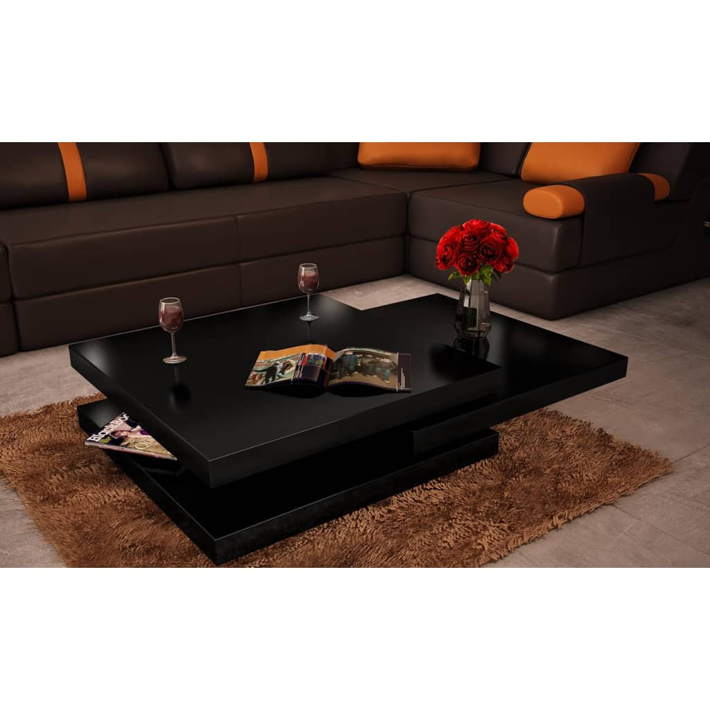 acheter table basse carr e pivotante noir laqu en mdf pas cher. Black Bedroom Furniture Sets. Home Design Ideas