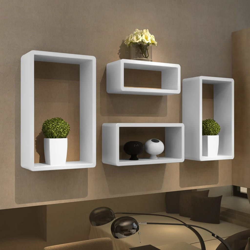la boutique en ligne etag res design murale 4 cubes blanc. Black Bedroom Furniture Sets. Home Design Ideas
