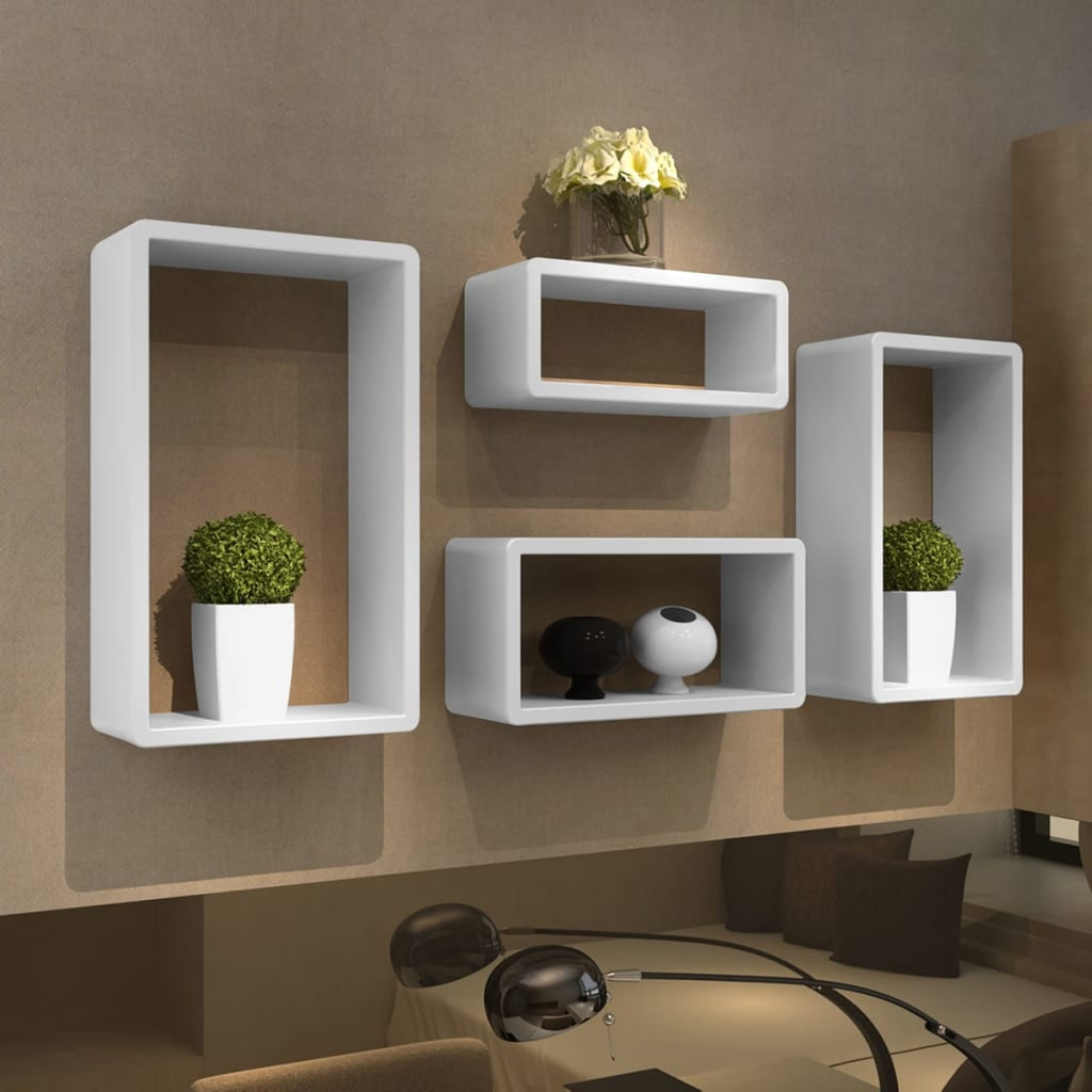4 retro wall cubes floating shelves stand storage display. Black Bedroom Furniture Sets. Home Design Ideas