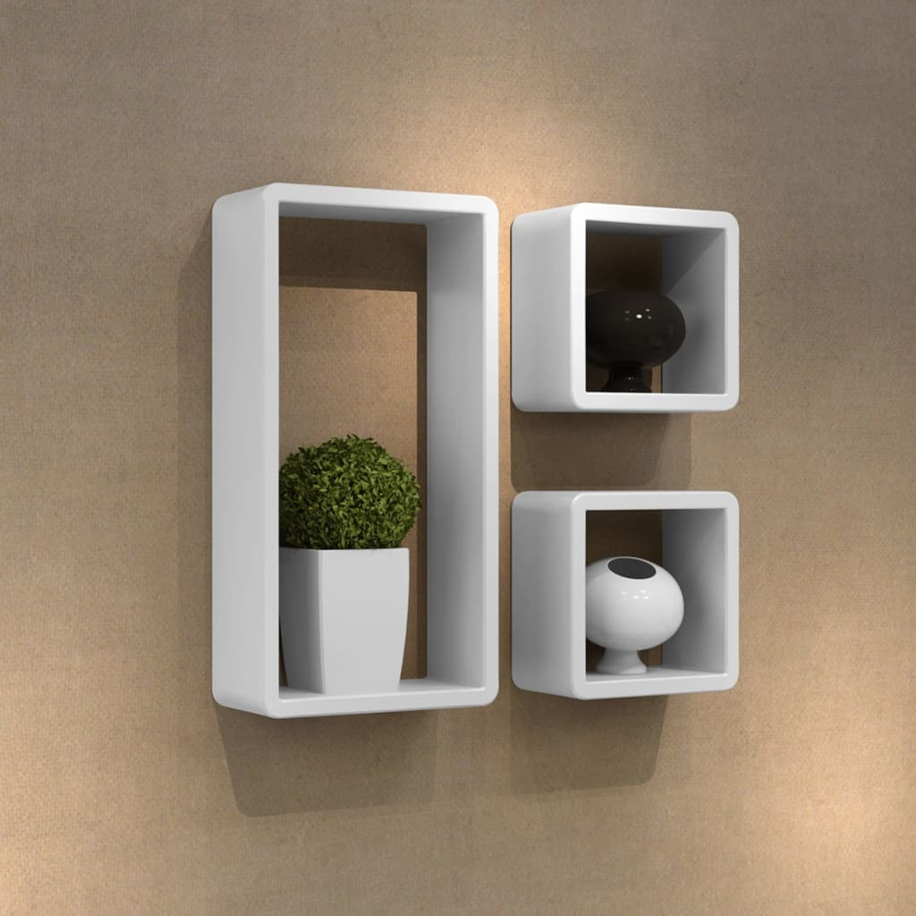 3 retro wall cubes floating shelves stand storage display uni bookcase ebay - Decoration etagere murale ...