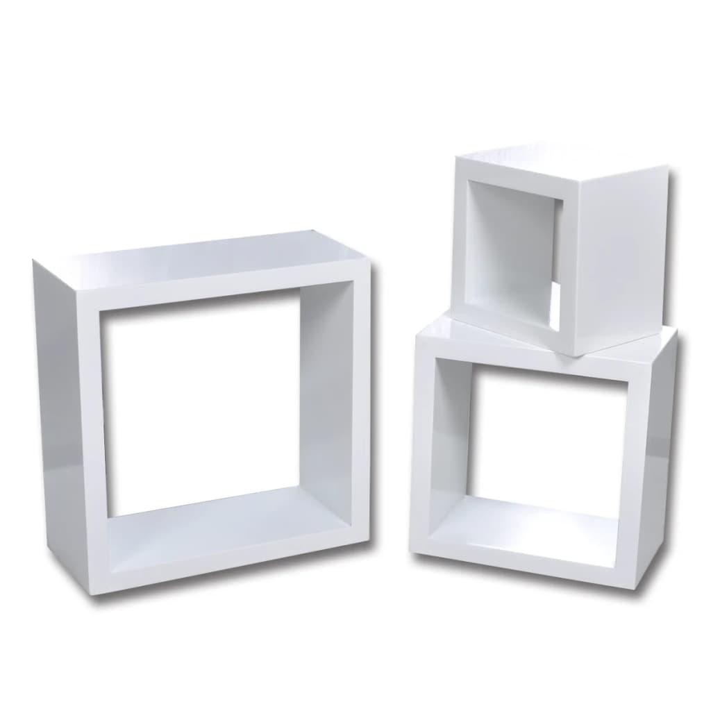 vidaXL Etagères Design Murale 3 Cubes Blanc Etagère de Rangement ...