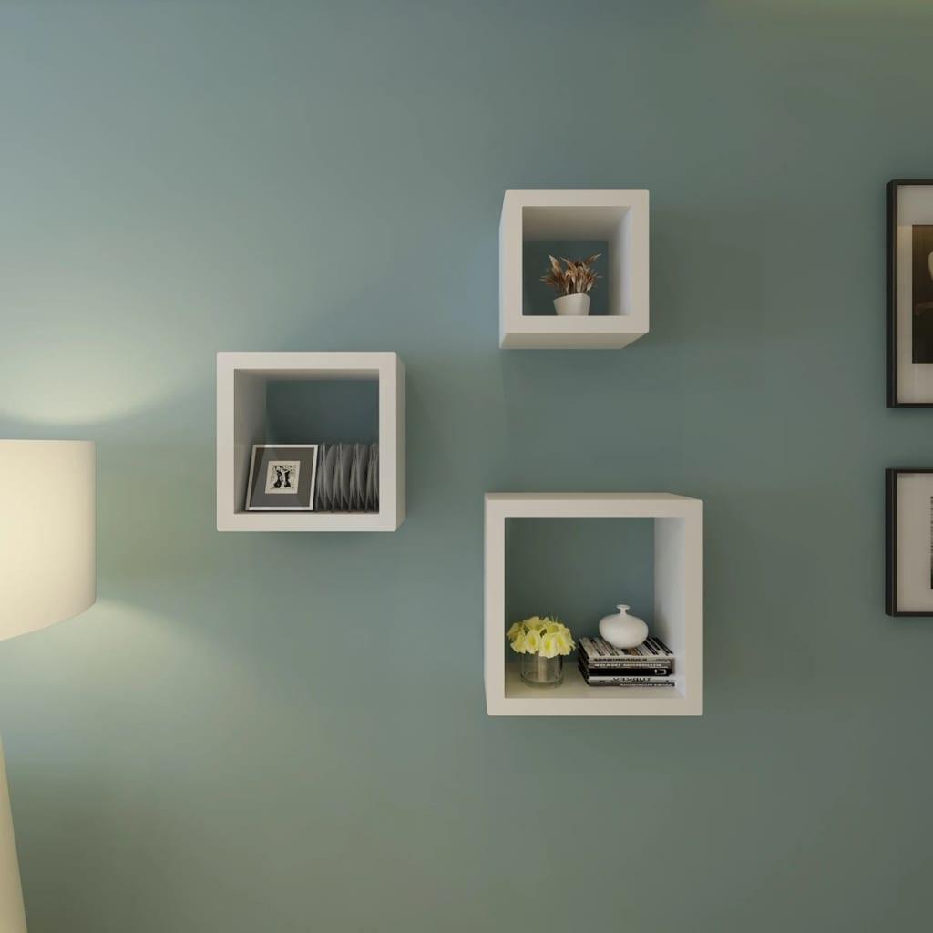Kubus plankenset 3 stuks - Deco woonkamer aan de muur wit ...