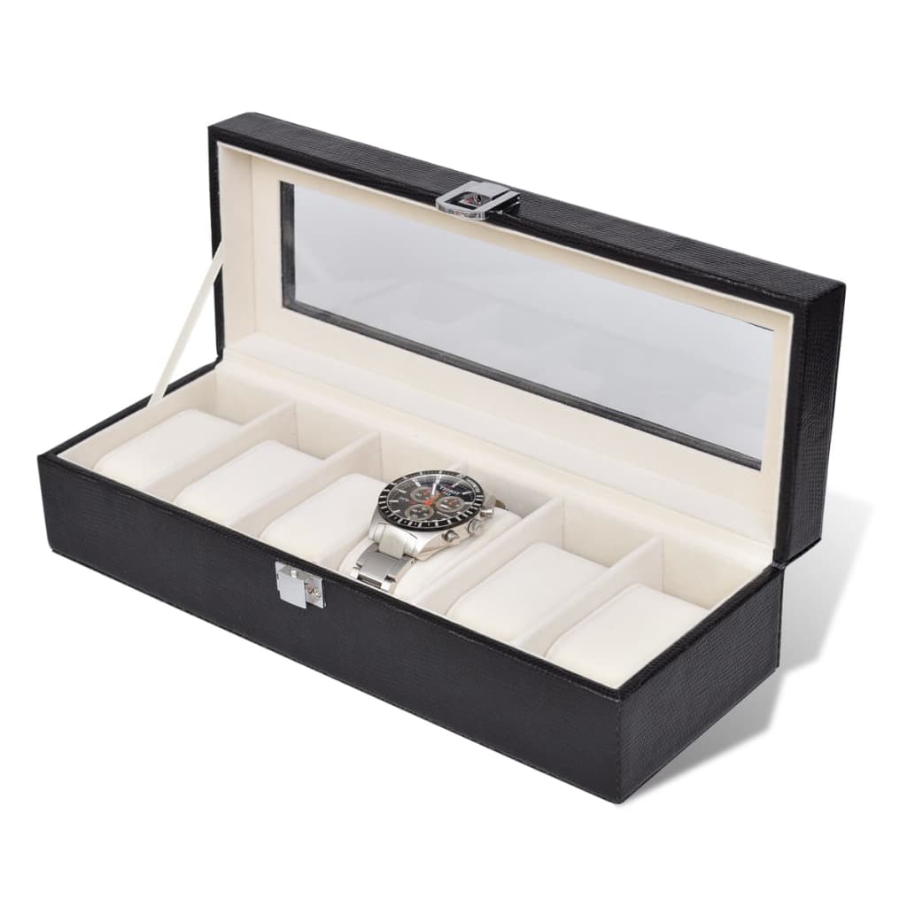 la boutique en ligne pr sentoir coffret bo te montre pour 6 montres avec vitre. Black Bedroom Furniture Sets. Home Design Ideas