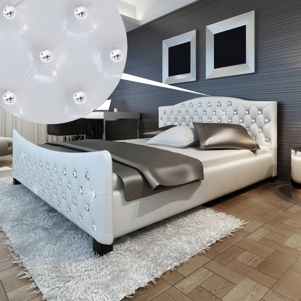 acheter lit diamant 180x200 en cuir blanc avec cristaux pas cher. Black Bedroom Furniture Sets. Home Design Ideas