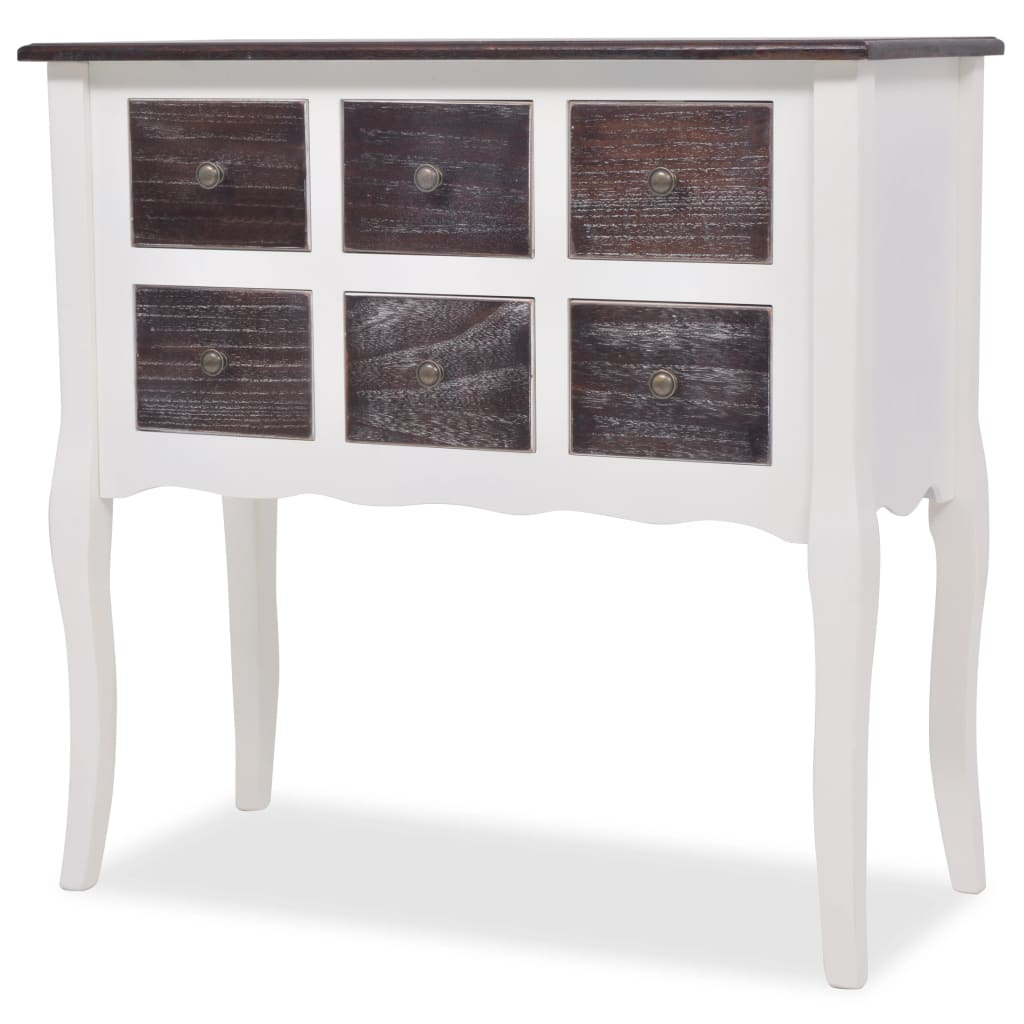 console cabinet 6 drawers white wood. Black Bedroom Furniture Sets. Home Design Ideas