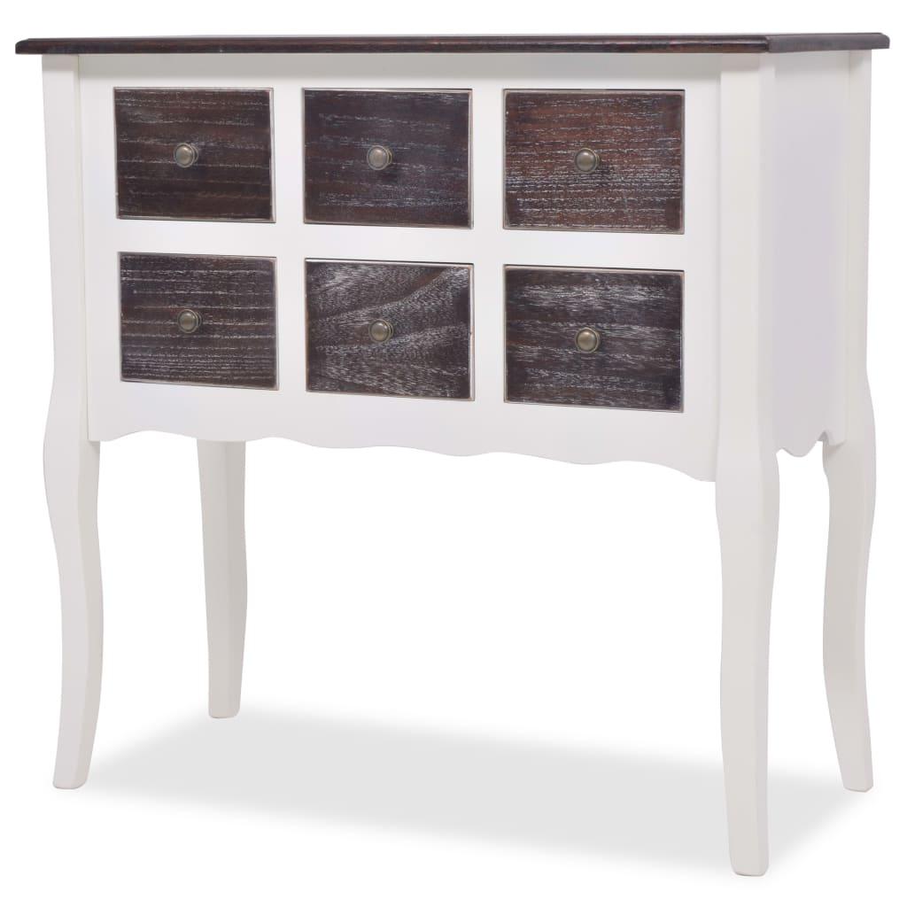 la boutique en ligne console armoire en bois blanc avec 6 tiroirs. Black Bedroom Furniture Sets. Home Design Ideas