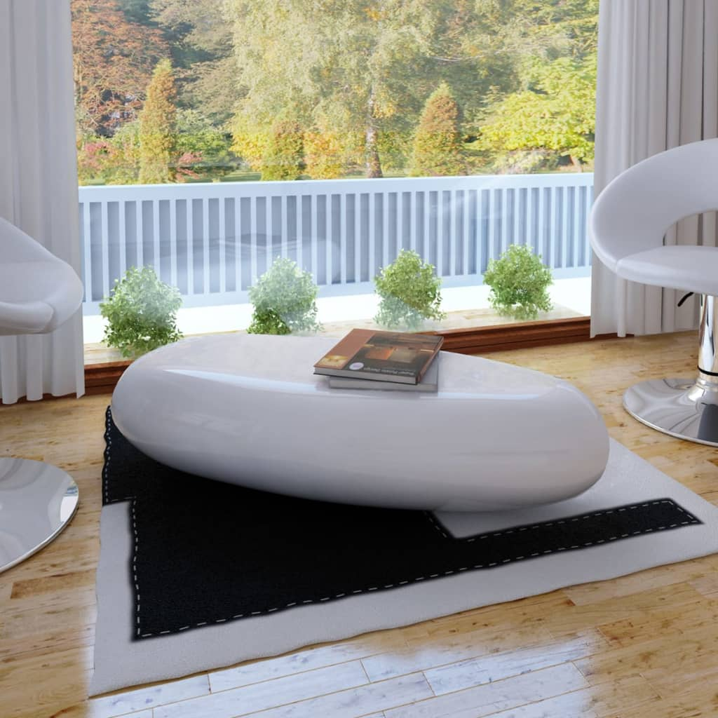 #bNEW Coffee Table Side Table Fiber Glass White / Black High-quality High Gloss