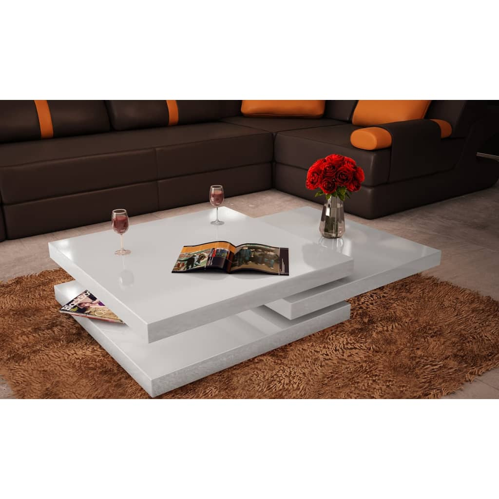 New adjustable coffee table 3 layers square white black for Wohnzimmertisch 3 beine