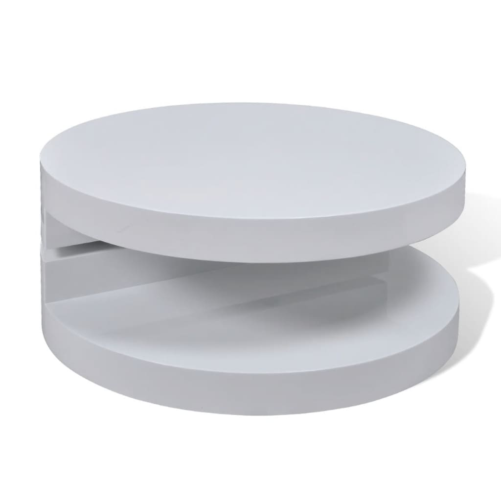 Coffee table round white 76 cm for Table basse petite