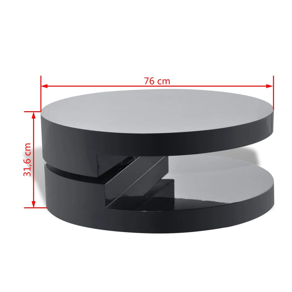 acheter table basse ronde pivotante en mdf noire brillante laqu e pas cher. Black Bedroom Furniture Sets. Home Design Ideas