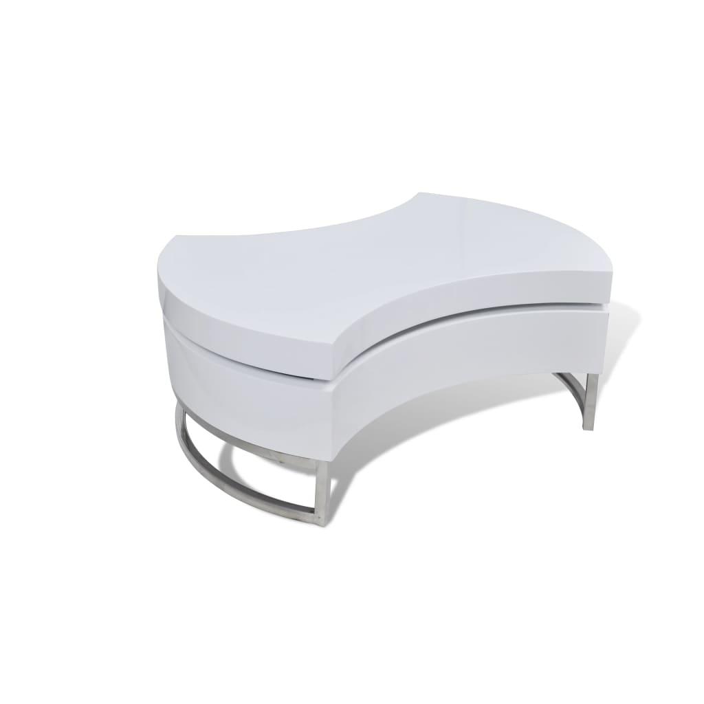 La boutique en ligne table basse pivotante en mdf blanche brillante laqu e - Table blanche laquee ...
