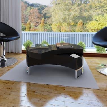 Konferenční stolek s nastavitelným tvarem, vysoce lesklá černá ...