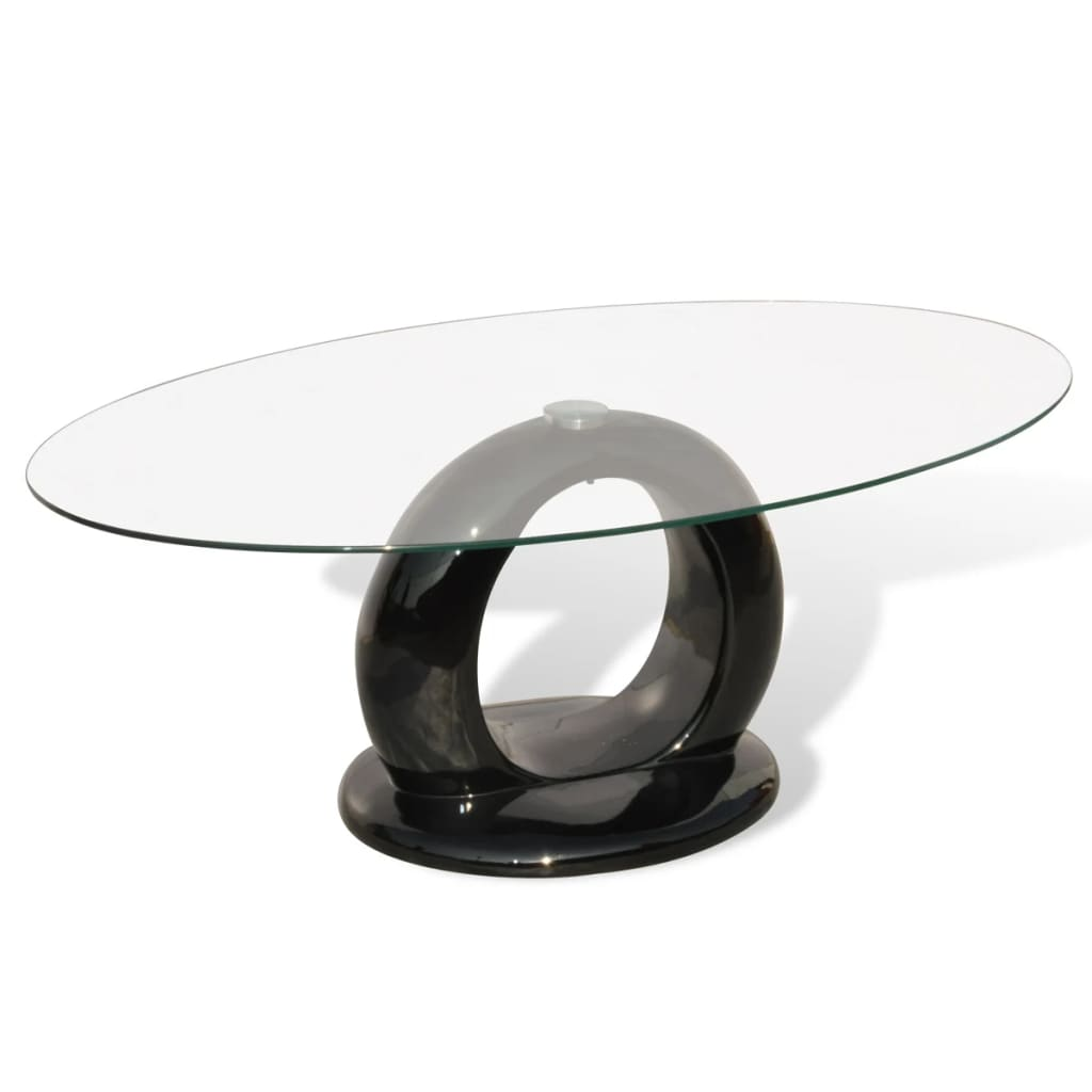 High Gloss White Coffee Table Round Angle Black Glass Top: Coffee Table Fiber Black High Gloss Round With Hole