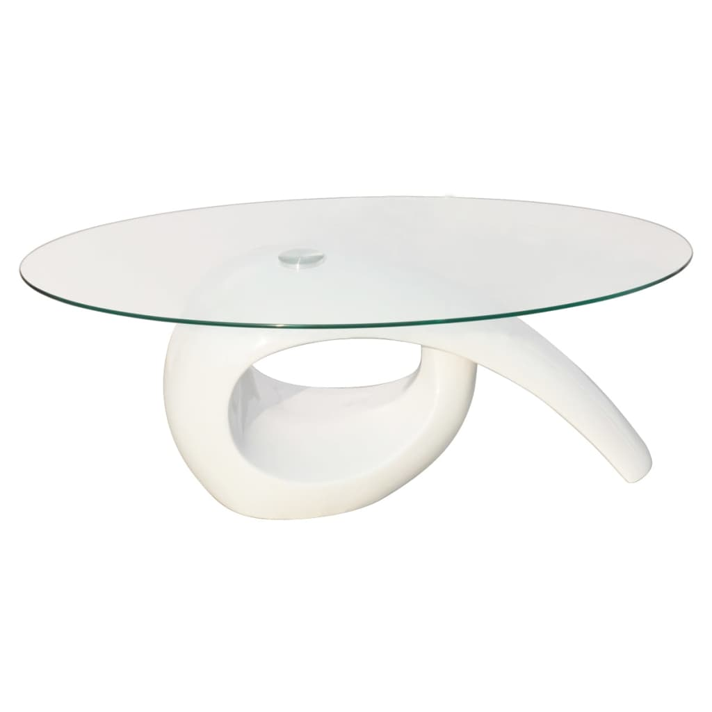 Glass top coffee table high gloss white for White and glass coffee table