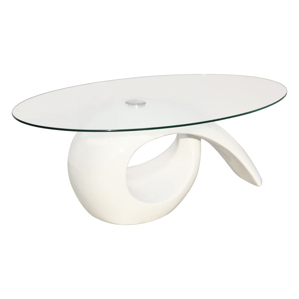 White Coffee Table With Black Tempered High Gloss Glass: Glass Top Coffee Table High Gloss White