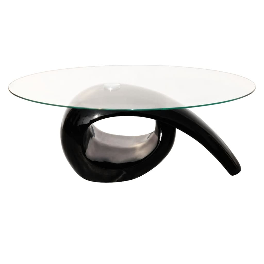 Glass top coffee table high gloss black for Coffee tables glass top
