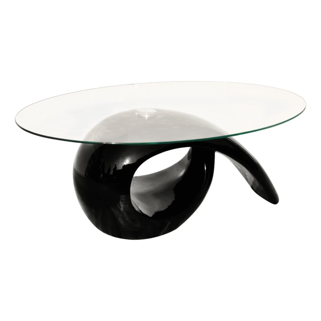 vidaXL Salontafel van glas hoogglans zwart