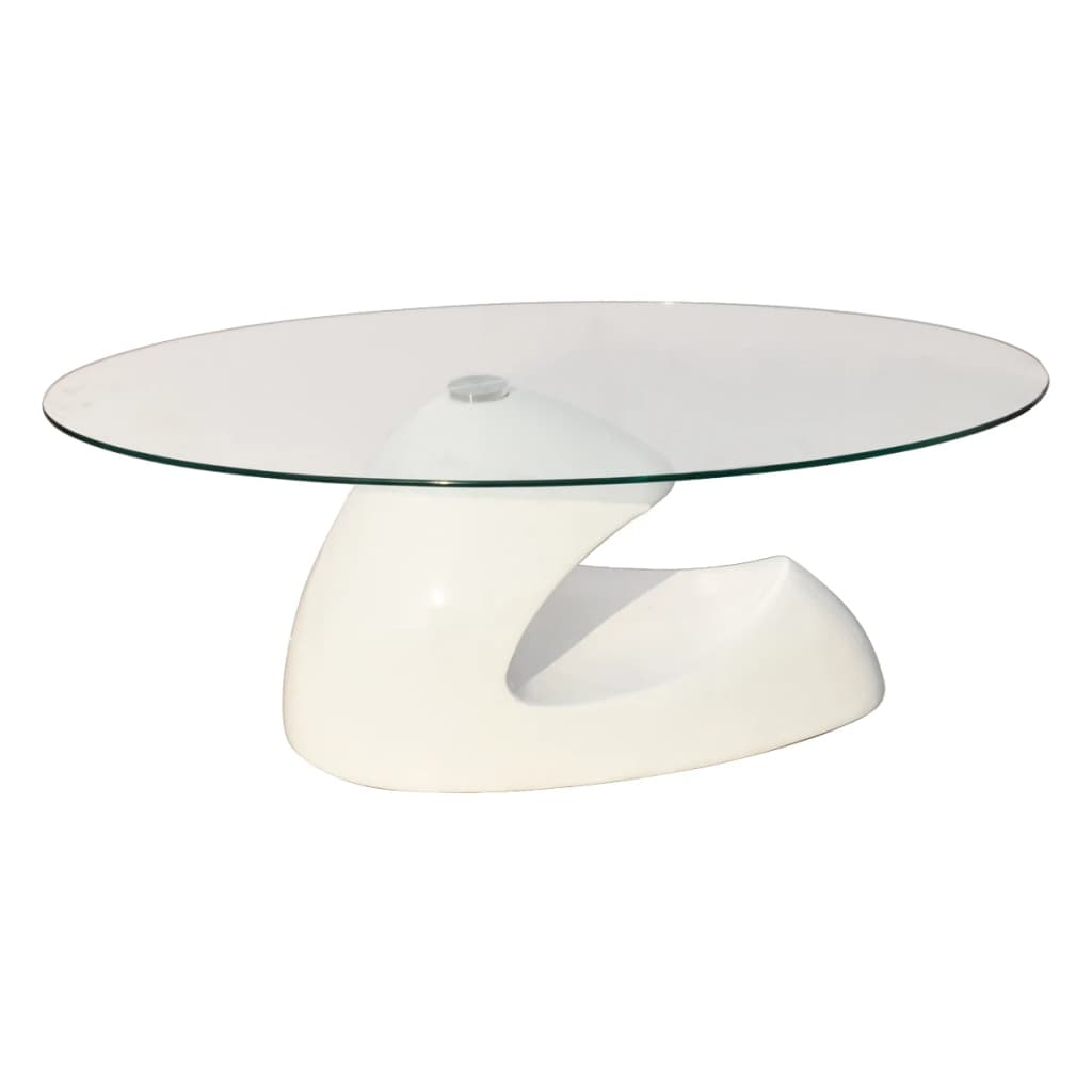 High Gloss White Coffee Table Glass Top