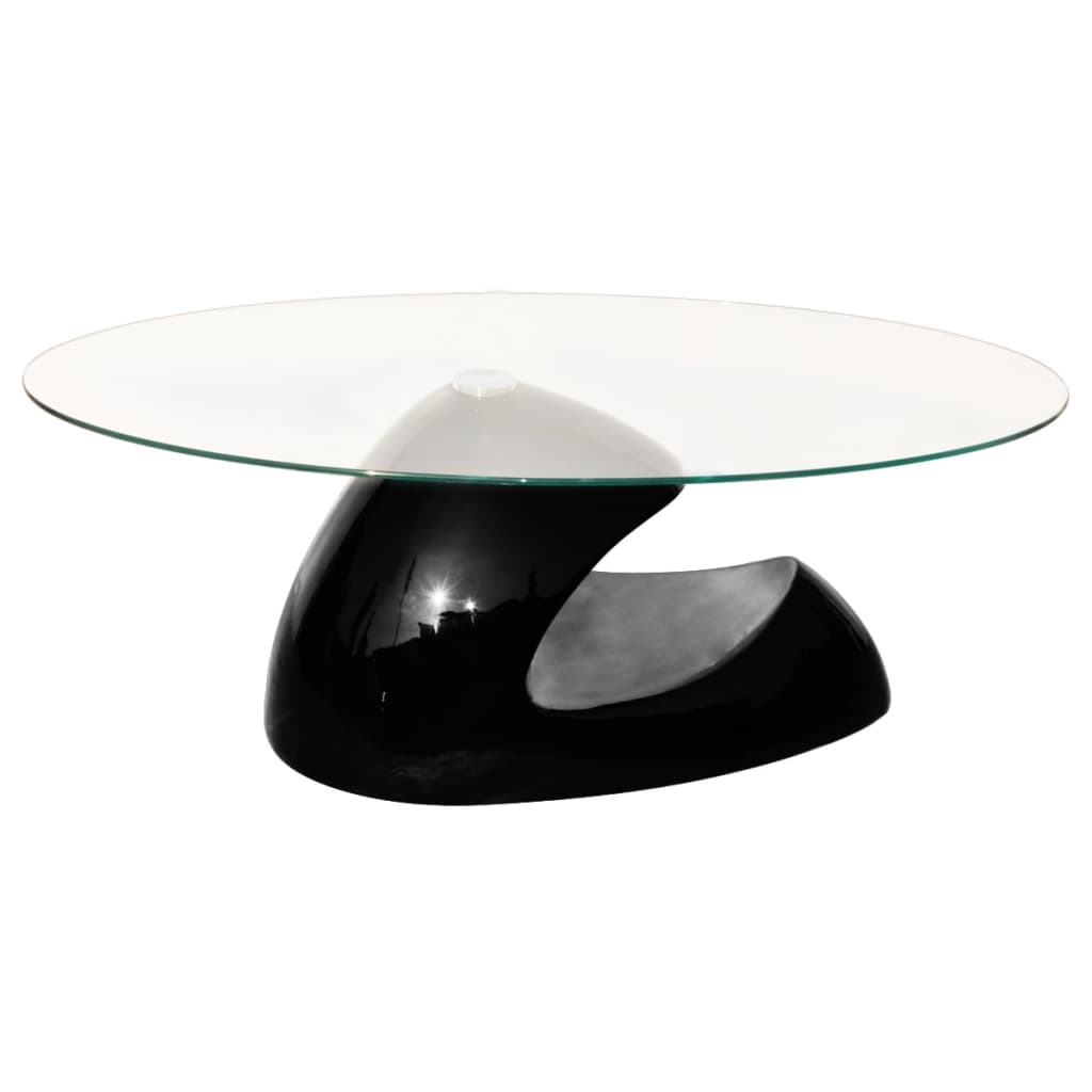 High gloss black coffee table glass top Black coffee table with glass