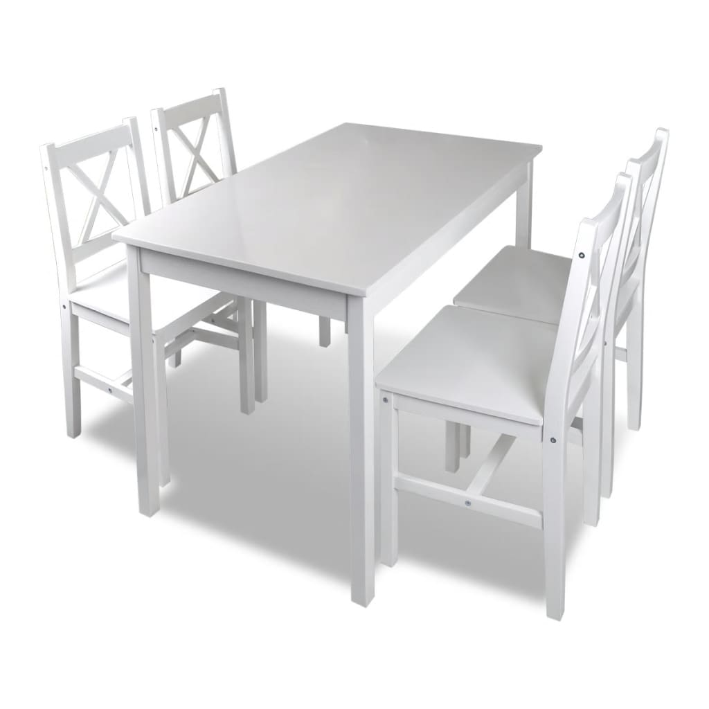 la boutique en ligne table et 4 chaises en bois blanc. Black Bedroom Furniture Sets. Home Design Ideas