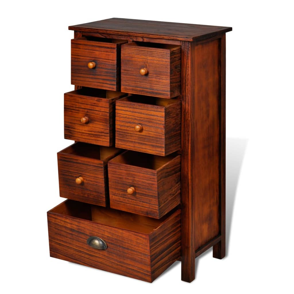 Vidaxl wooden cabinet brown with drawers