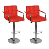 240464 2 x Bar Stool Red With Armrest