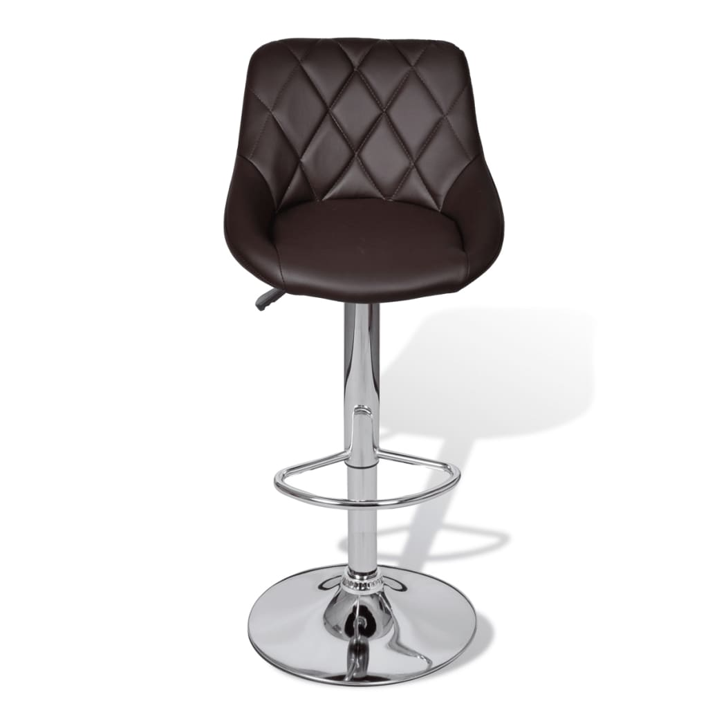 vidaXL-2-x-Taburete-de-Bar-con-Reposabrazo-Marron-Silla-de-Bar-Asientos-Muebles